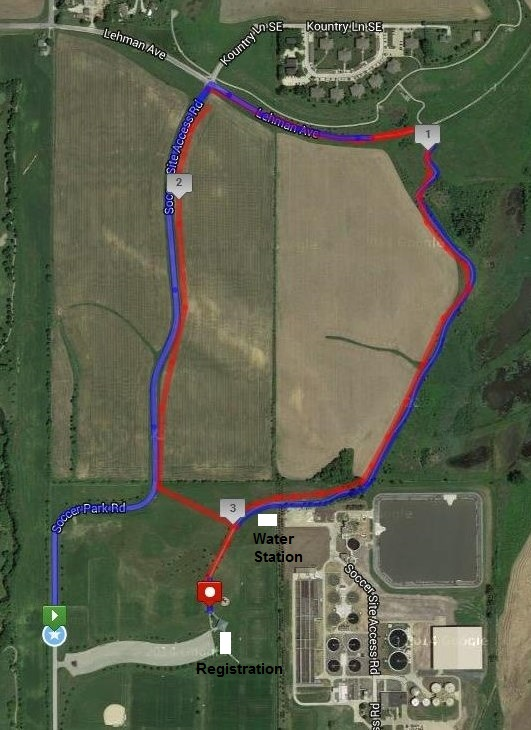 Fall 5k course map IC Kickers Soccer Park